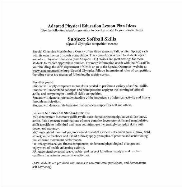 Physical Education Lesson Plan Template Inspirational Physical Education Lesson Plan Template 8 Free Sample