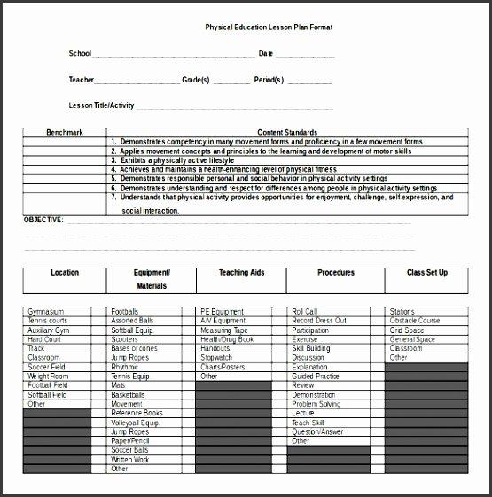 Physical Education Lesson Plan Template Lovely 9 Lesson Plan Checklist Sample Sampletemplatess