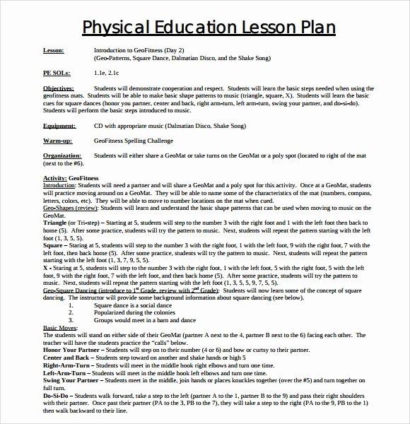 Physical Education Lesson Plan Template Unique 8 Physical Education Lesson Plan Templates for Free