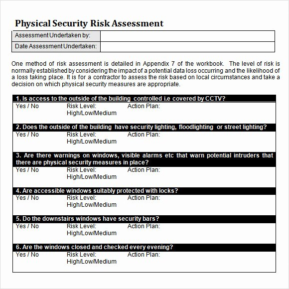 Physical Security Plan Template New 10 Sample Security Risk assessment Templates Pdf Word