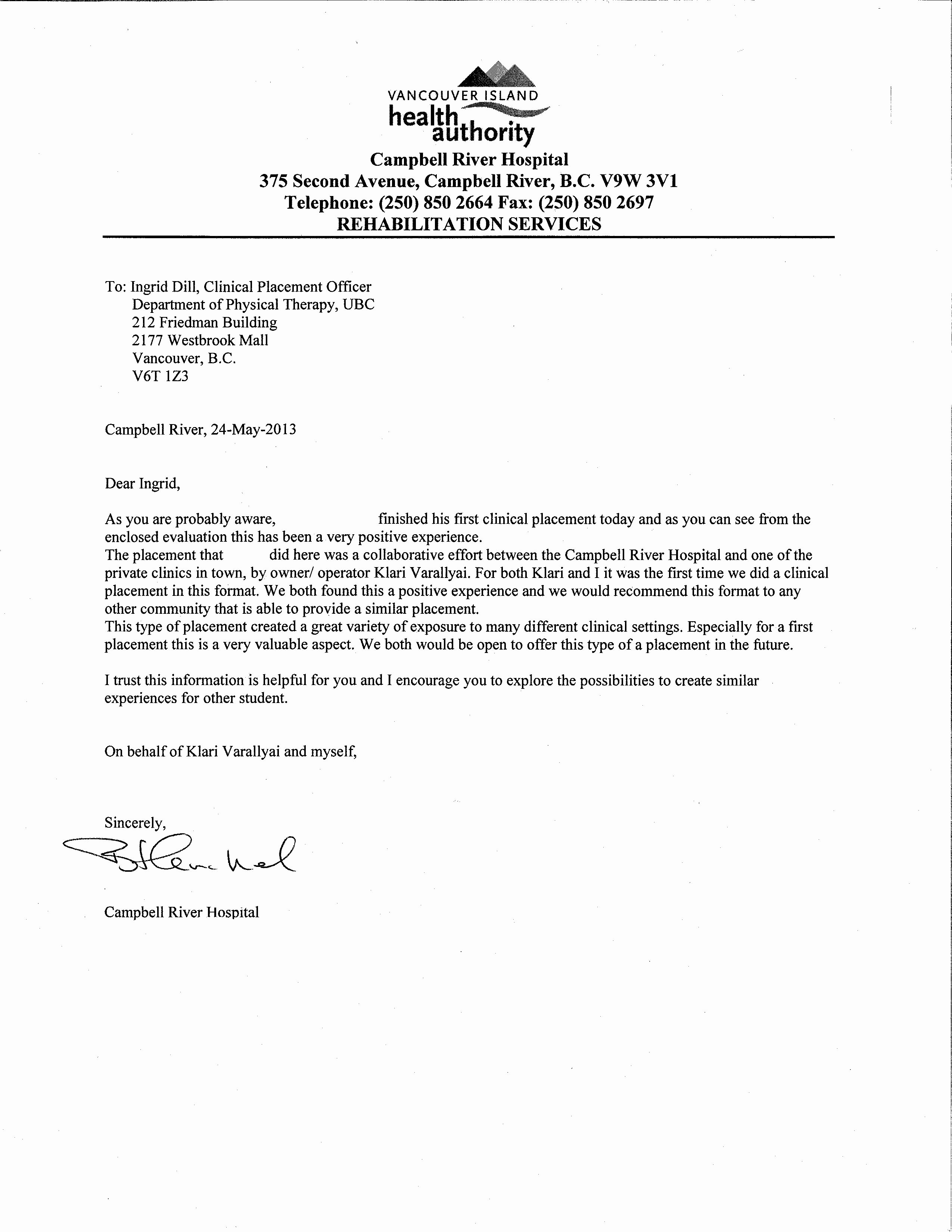 Physical therapy Letter Of Recommendation Awesome Letter Re Mendation for Physical therapy School