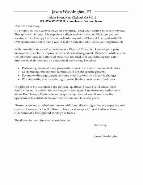 Physical therapy Letter Of Recommendation Luxury Physical therapy Cover Letter