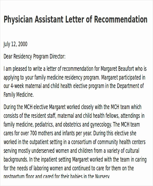 Physician assistant Letter Of Recommendation Best Of 9 Sample Physician Letter Of Re Mendation Word Pdf