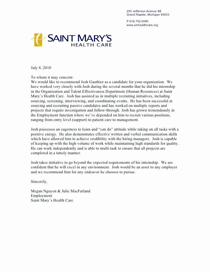 Physician assistant Letter Of Recommendation Elegant Letter Re Mendation Healthcare Hospital for Provider