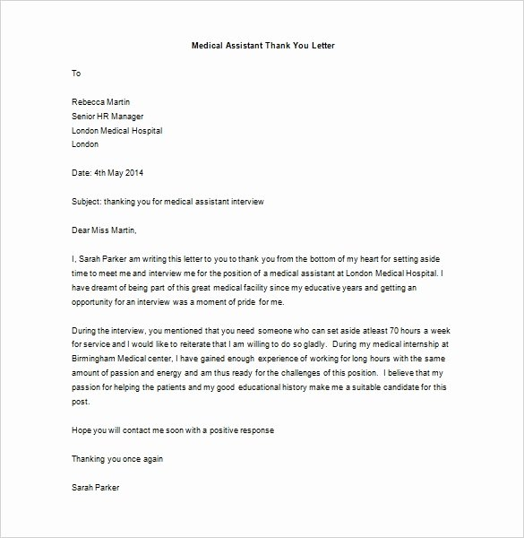 Physician assistant Recommendation Letter Inspirational 9 Medical Thank You Letter Templates Doc Pdf