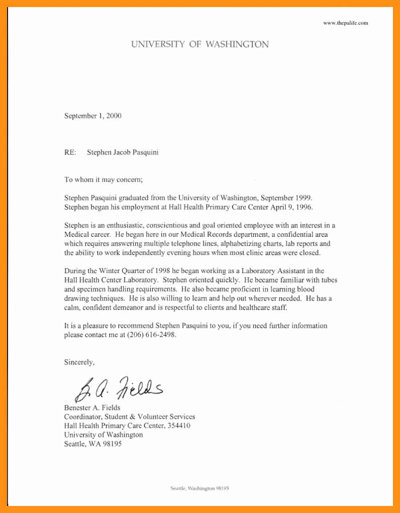 Physician assistant Recommendation Letter Lovely Sample Letter Of Re Mendation