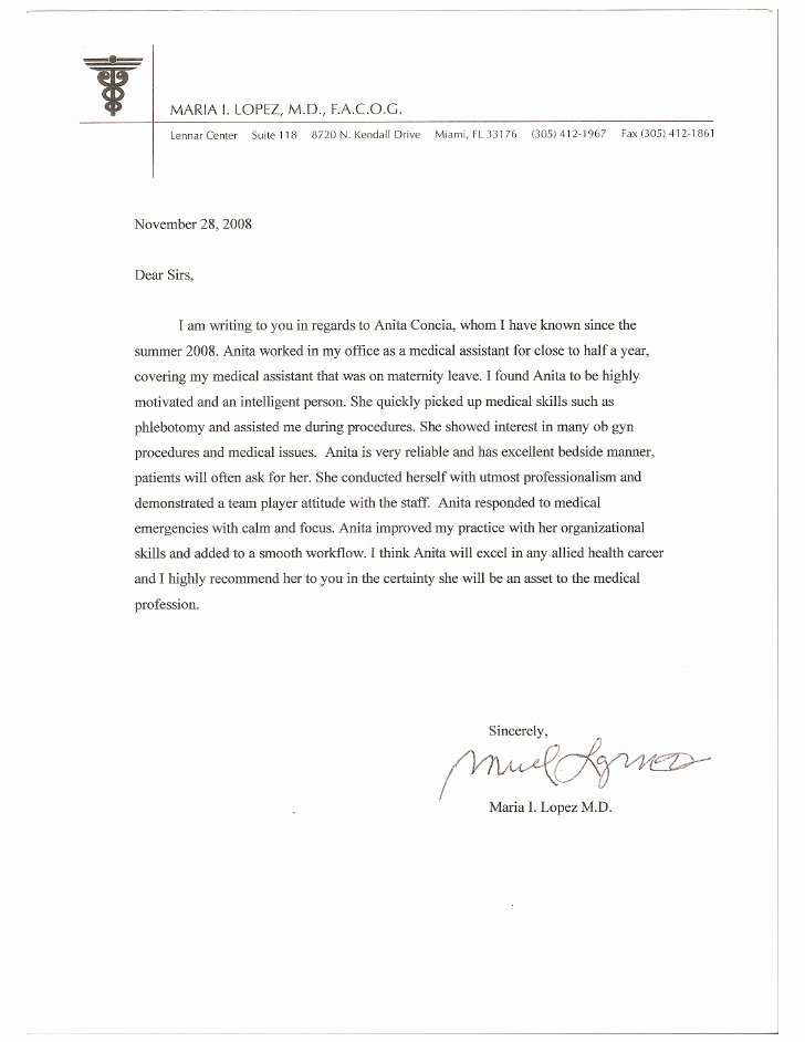 Physician assistant Recommendation Letter New Letter Of Re Mendation From Dr Lopez