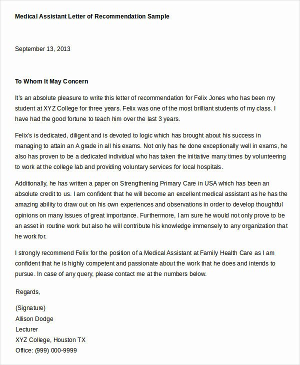Physician assistant Recommendation Letter Unique Reference Letter Example 33 Free Word Pdf Documents