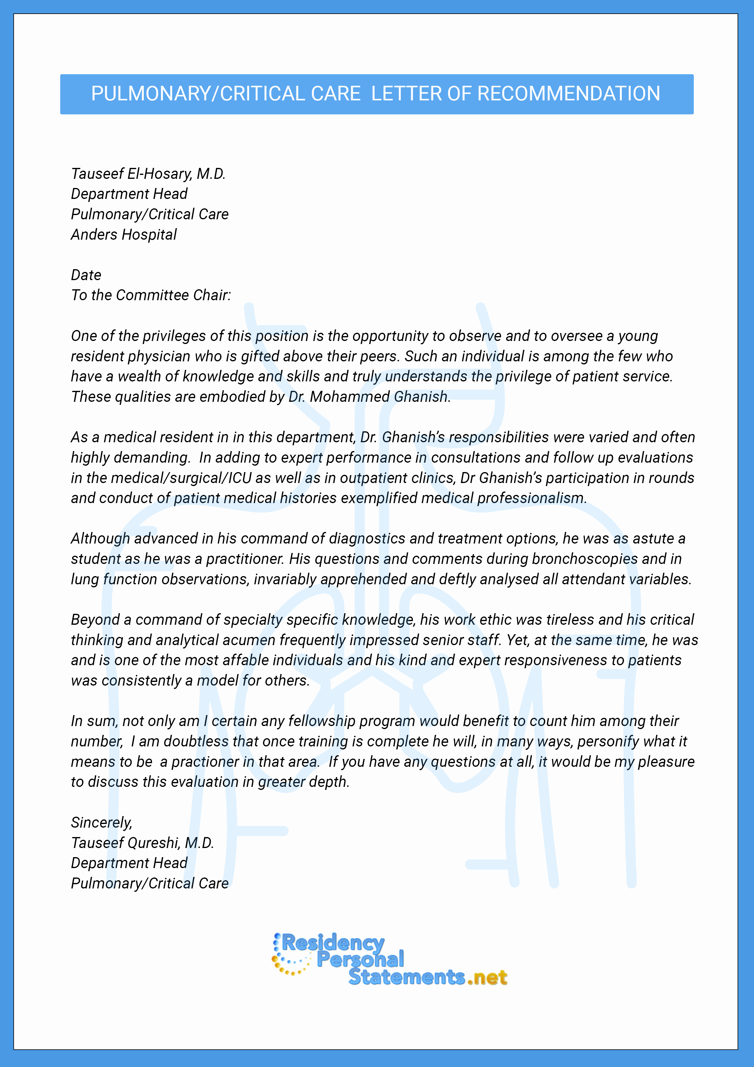 Physician Letter Of Recommendation Awesome Letter Of Re Mendation for Medical Fellowship Example