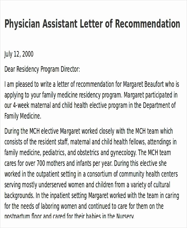 Physician Letter Of Recommendation Best Of Physician assistant Letter Re Mendation