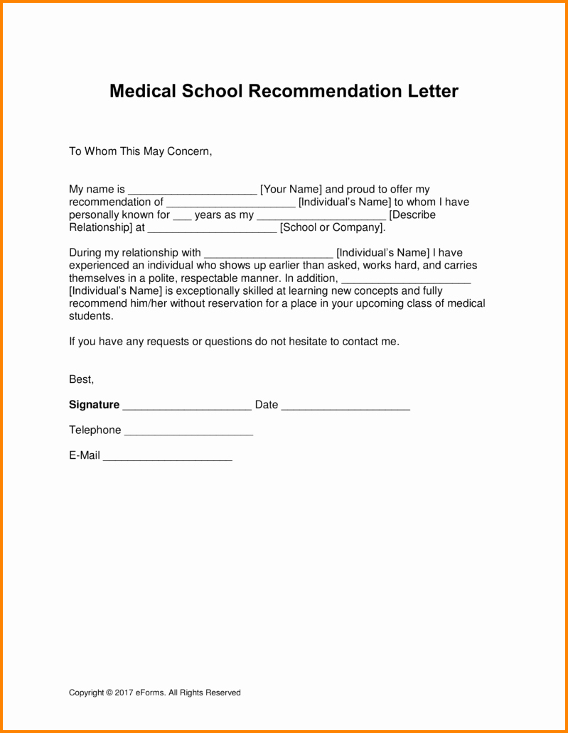 Physician Letter Of Recommendation Examples Fresh 11 Re Mendation Letter for Medical School Sample