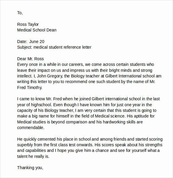 Physician Letter Of Recommendation Examples Inspirational Sample Reference Letter for A Student 7 Download Free