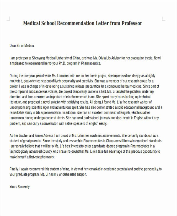 Physician Letter Of Recommendation Examples Unique 8 Medical School Re Mendation Letter Free Sample