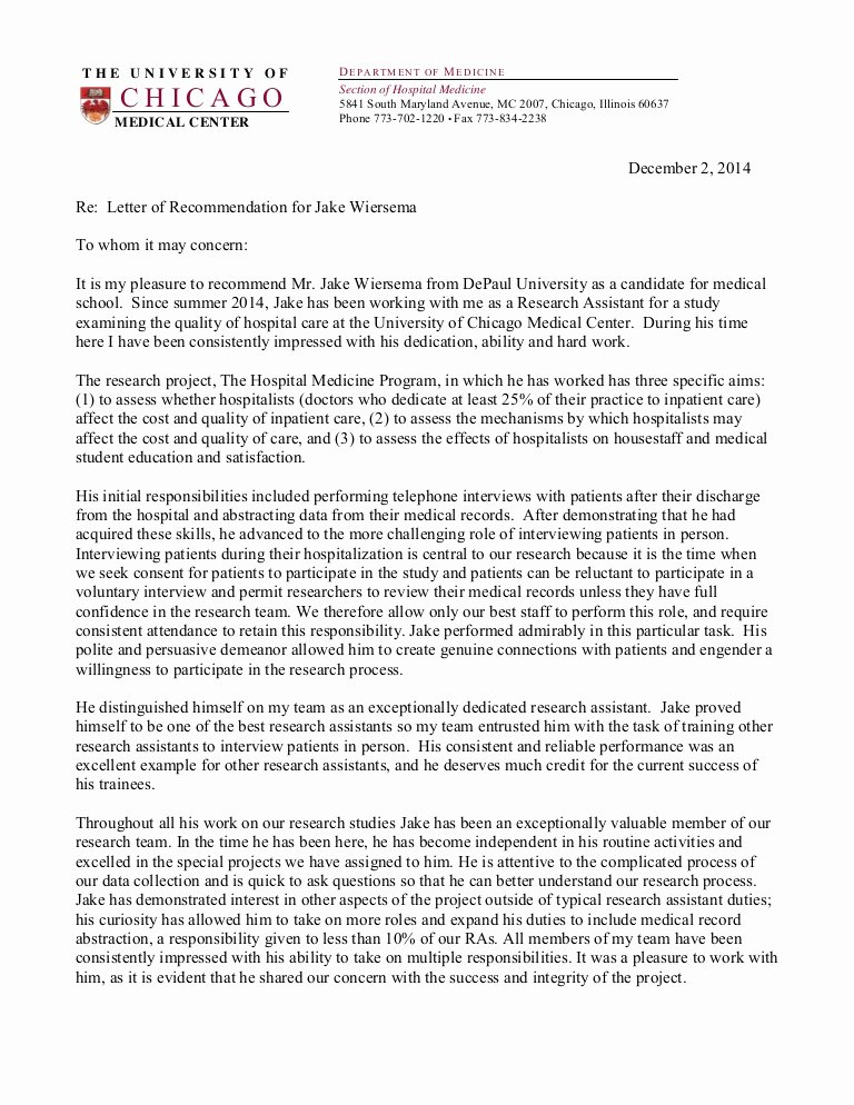 Physician Letter Of Recommendation Examples Unique Jake Wiersema Letter Of Re Mendation Medical School