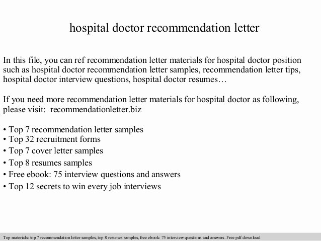 Physician Letter Of Recommendation Fresh Hospital Doctor Re Mendation Letter