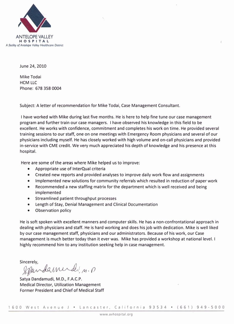 Physician Letter Of Recommendation New Testimonials Hospital Case Management Llc