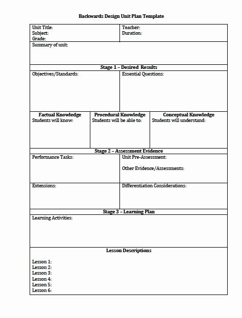 Piano Lesson Plan Template Awesome Unit Plan and Lesson Plan Templates for Backwards Planning