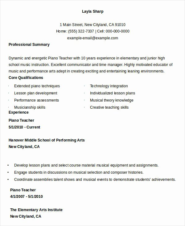 Piano Lesson Plan Template Best Of Free Teacher Resume 40 Free Word Pdf Documents