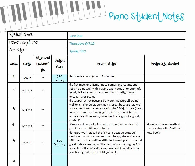 Piano Lesson Plan Template Lovely Piano Student Notes & Records Printable so Brilliant