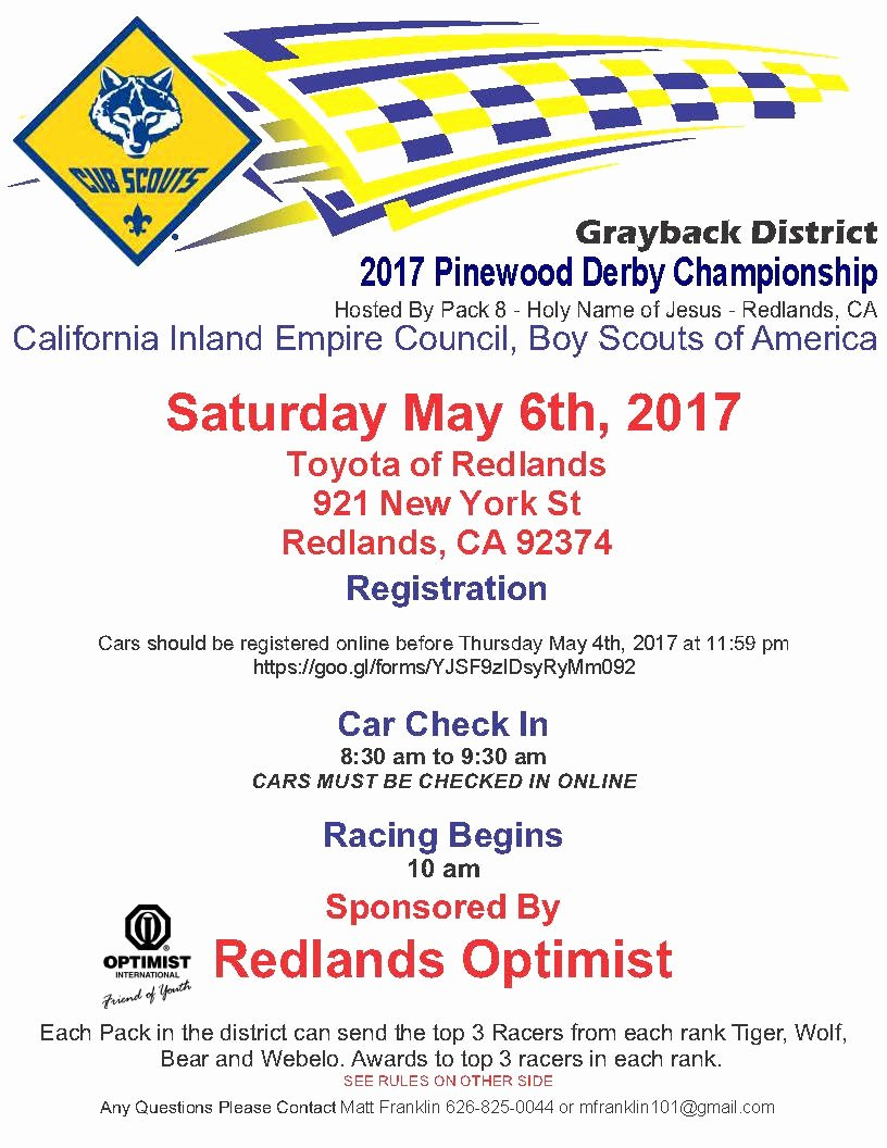 Pinewood Derby Flyer Template Awesome Bsa California Inland Empire Council