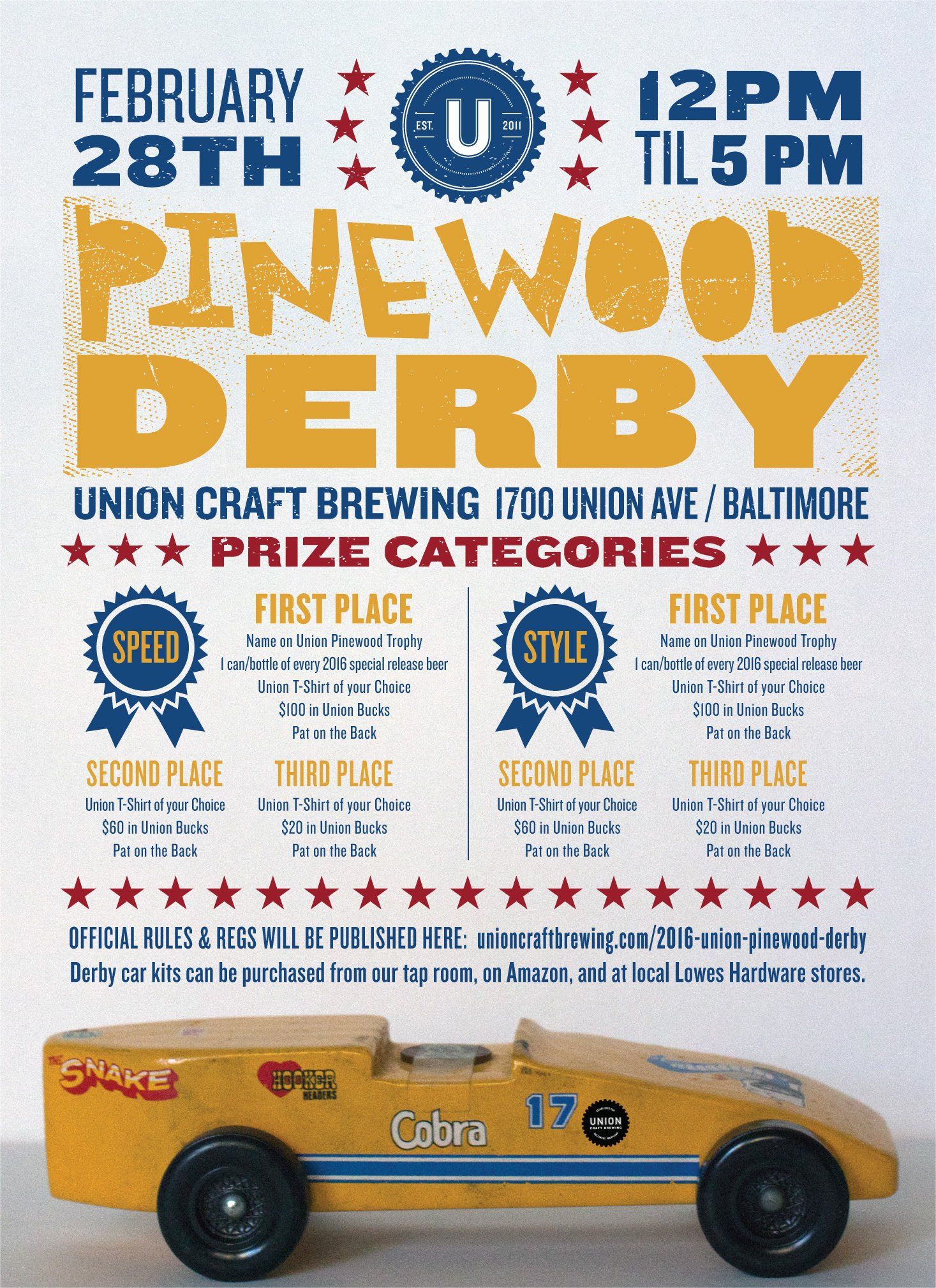 Pinewood Derby Flyer Template Best Of Union Craft Brewing 2016 Union Pinewood Derby Union