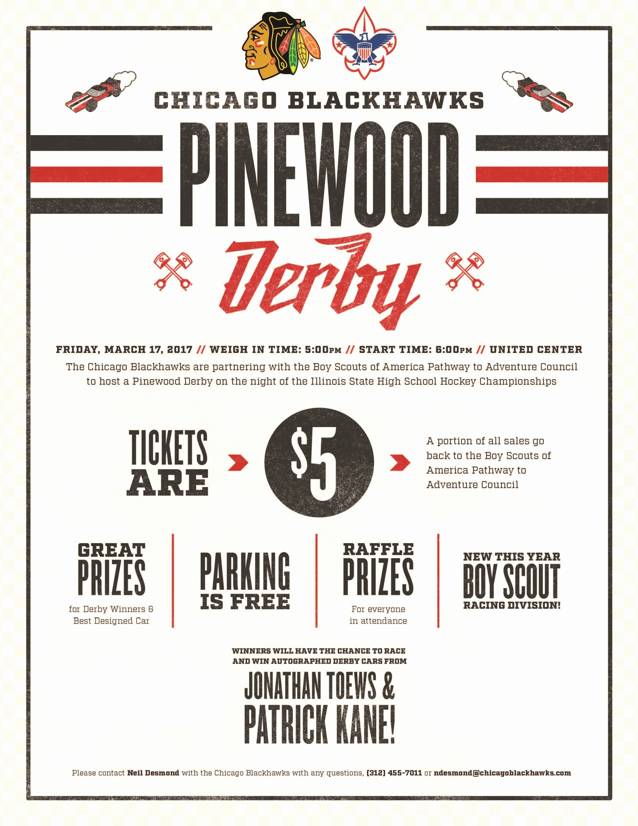 Pinewood Derby Flyer Template Elegant Pathway to Adventure Council Chicago Blackhawks Pinewood