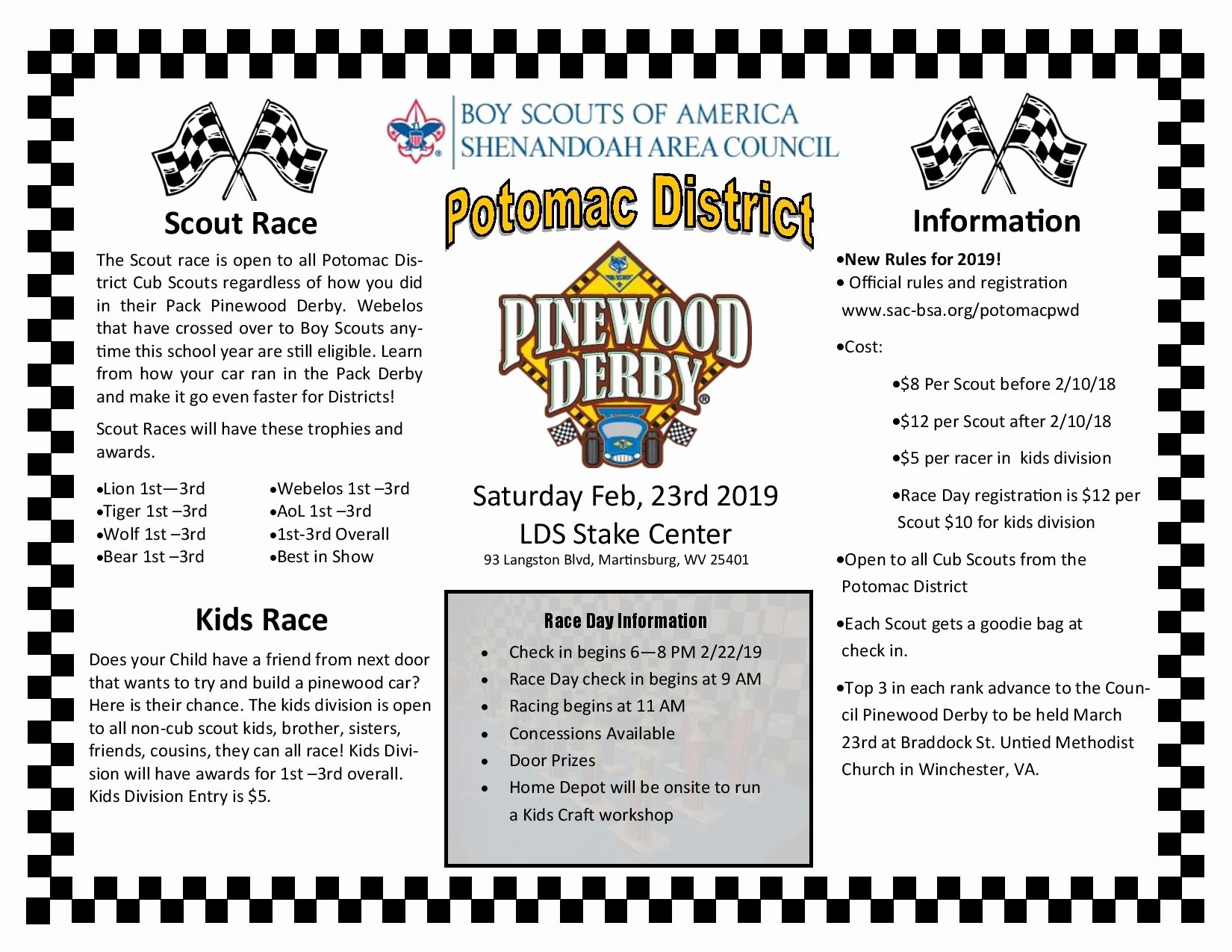 Pinewood Derby Flyer Template Inspirational Potomac District Pinewood Derby Registration