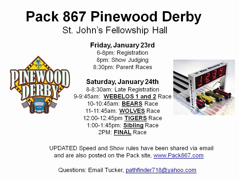 Pinewood Derby Flyer Template Inspirational Start Your Engines Cub Scout Pack 867