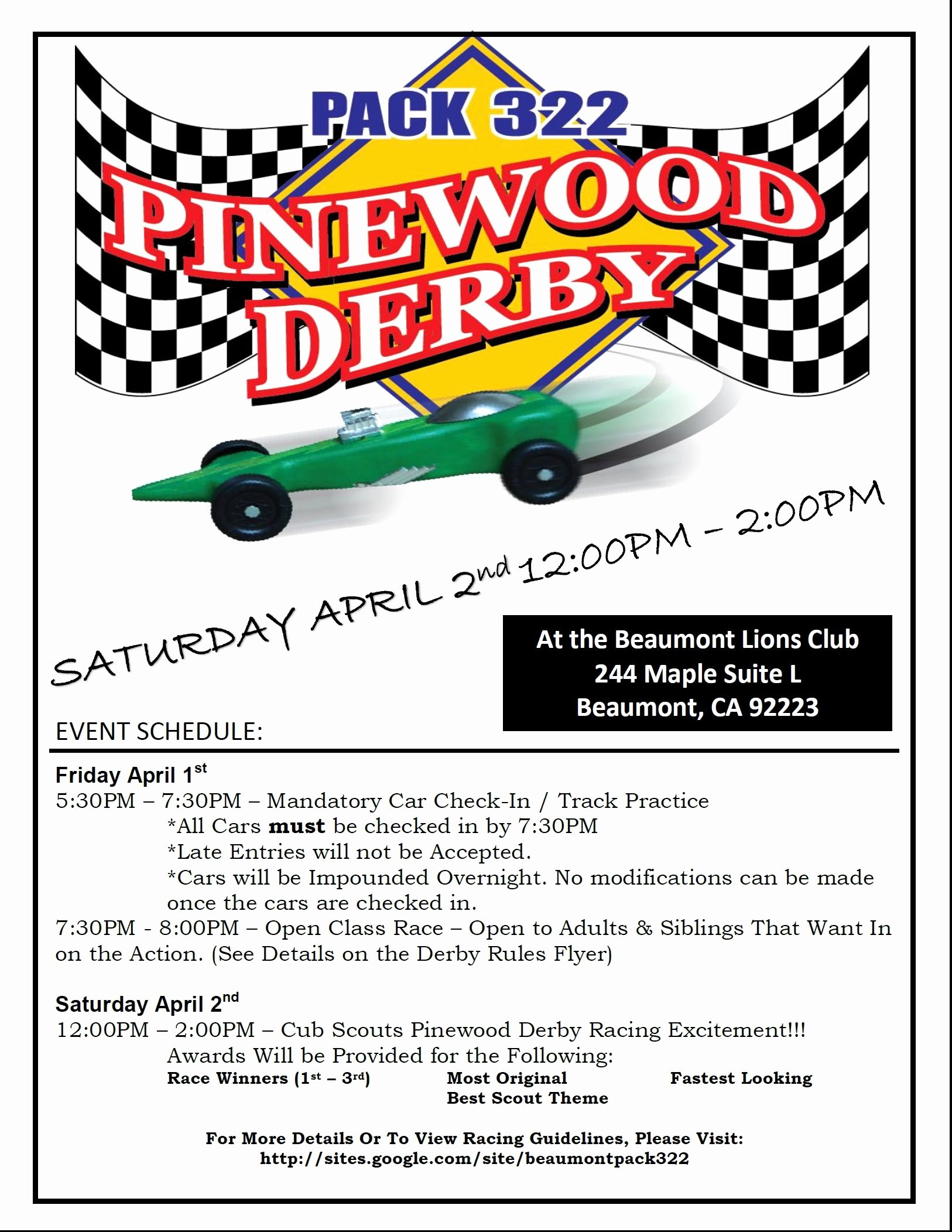 Pinewood Derby Flyer Template Luxury Pinewood Derby April 1 & 2 Pack 322 Beaumont Ca