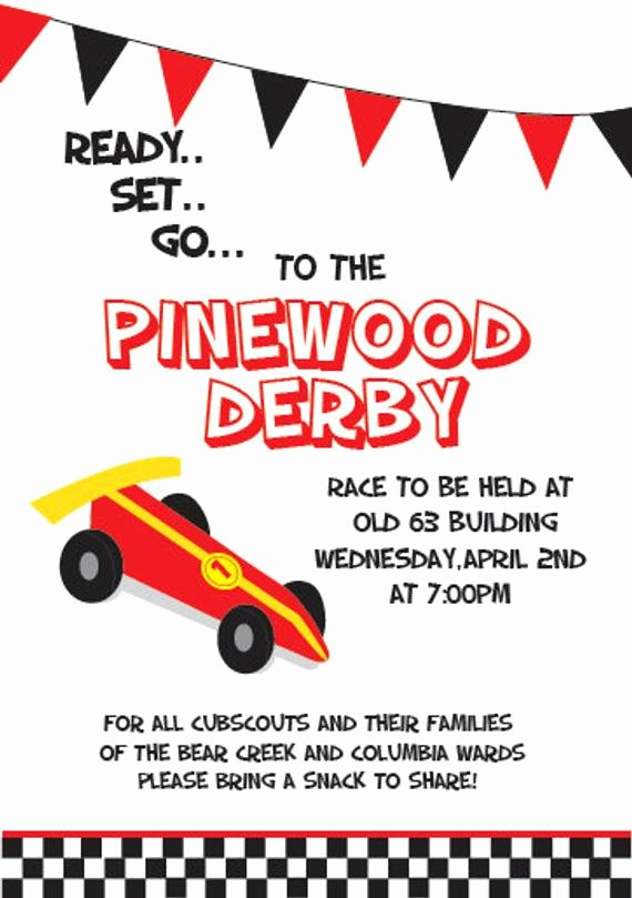 Pinewood Derby Flyer Template Unique Custom Pinewood Derby Invitation 5x7 by Katy anddesign