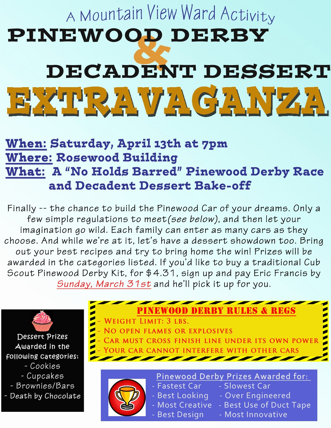 Pinewood Derby Flyer Template Unique Relief society Corner April Ward Activity Pinewood