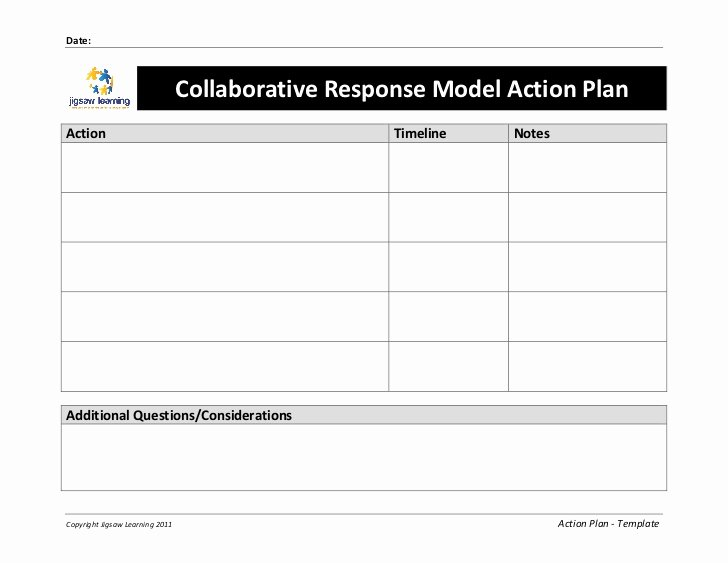 Plan Of Action Template Beautiful Collaborative Response Model Action Plan Template