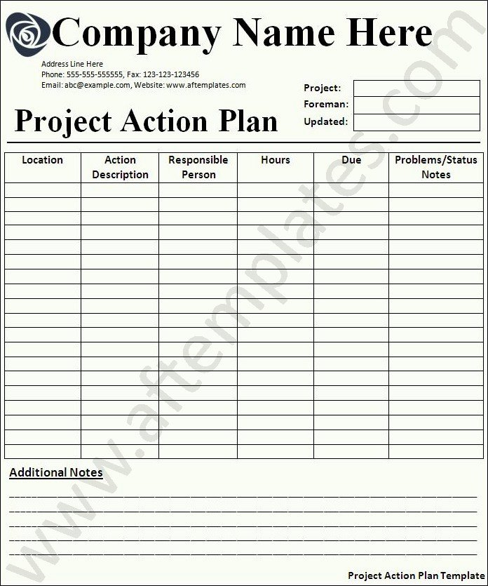 Plan Of Action Template New Action Plan Template