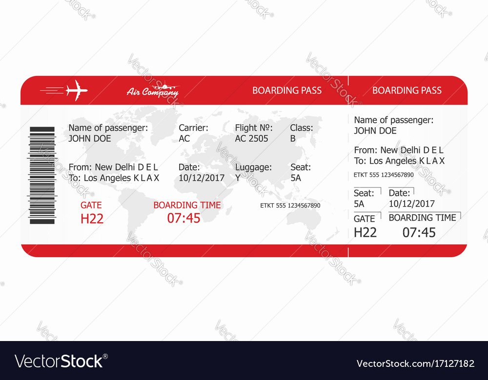 Plane Ticket Template Pdf Awesome Airplane Ticket Boarding Pass Ticket Template Vector Image