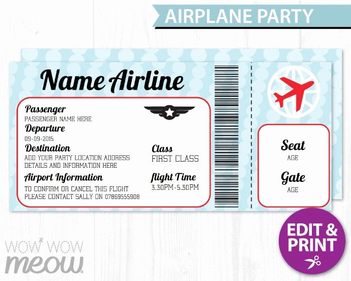 Plane Ticket Template Pdf Awesome Airplane Ticket Invite Aeroplane Passport Invitation Pilot Fun