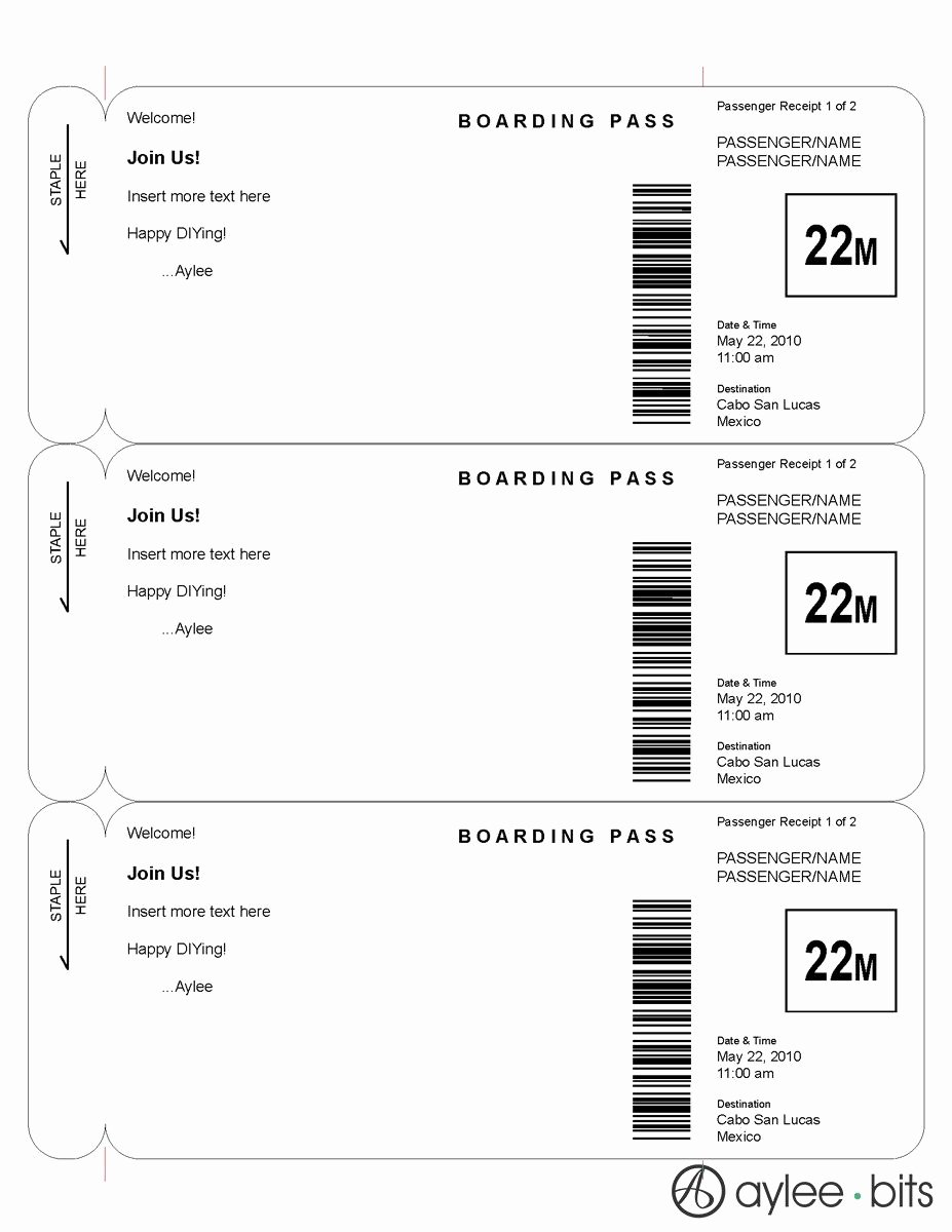 Plane Ticket Template Pdf Awesome Boarding Pass Invitation Template by Ayleebits