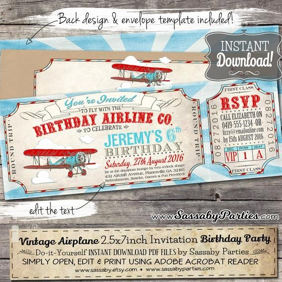 Plane Ticket Template Pdf Beautiful Vintage Airplane Ticket Invitation Instant Download