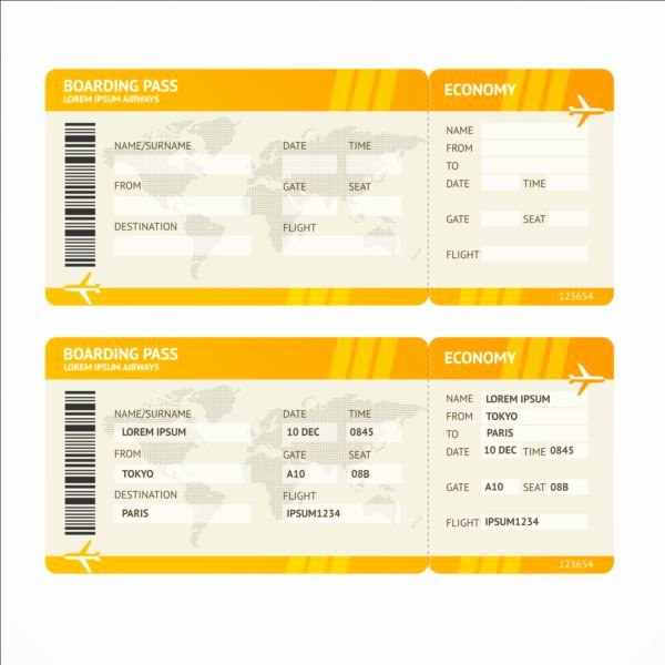 Plane Ticket Template Pdf Elegant Airline Tickets Template Design Vector 03 Free