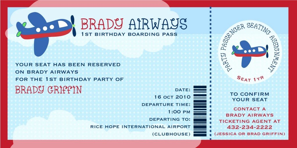 cute brady airways boarding pass ticket template theme for kids birthday invitation