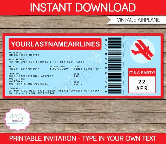 Plane Ticket Template Pdf Luxury Airplane Boarding Pass Invitation Template Birthday