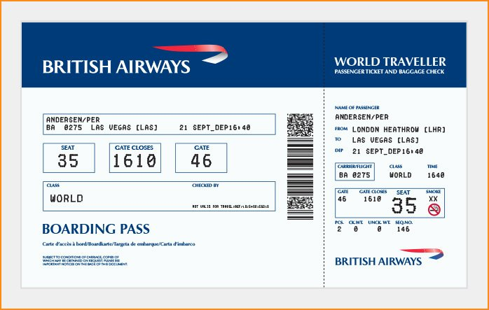 Plane Ticket Template Pdf Unique 27 Best Airline Boarding Pass Ticket Template Examples