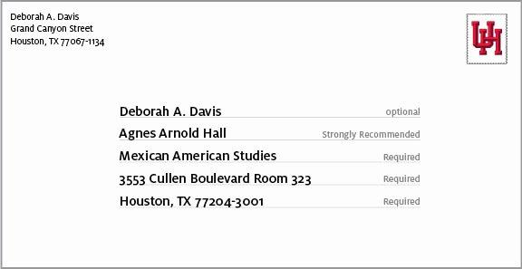 Po Box Letter format Beautiful Address formatting University Of Houston