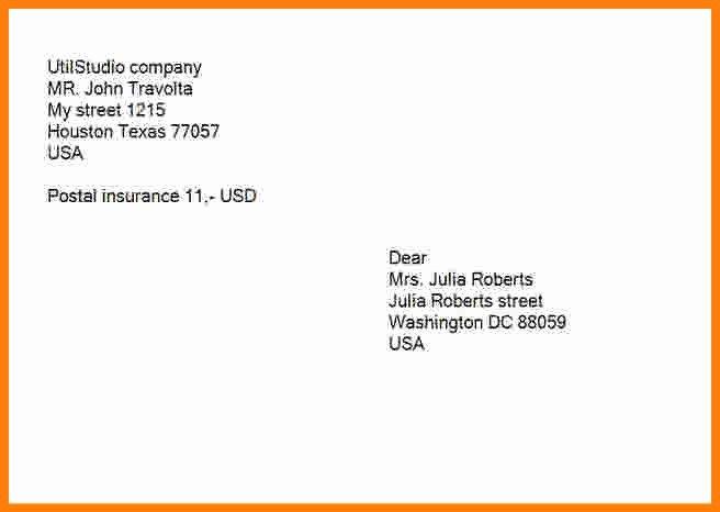 Po Box Letter format Elegant Letter Envelope format