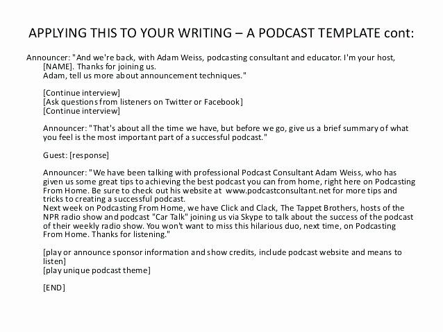 Podcast Business Plan Template Beautiful Podcast Template Writing for Podcasting Use This Document