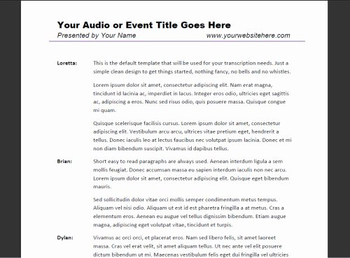Podcast Business Plan Template Elegant Transcription Template Samples