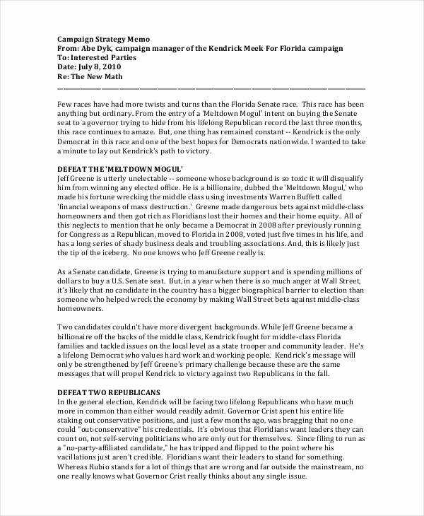 Political Campaign Plan Template Pdf Best Of 10 Strategy Memos Sample Word Google Docs format Download