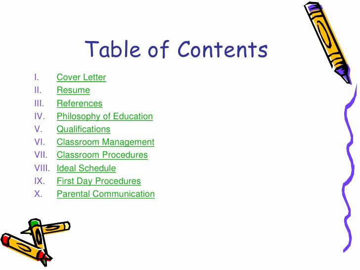 Portfolio Table Of Contents Template Best Of Teaching Portfolio Linked In