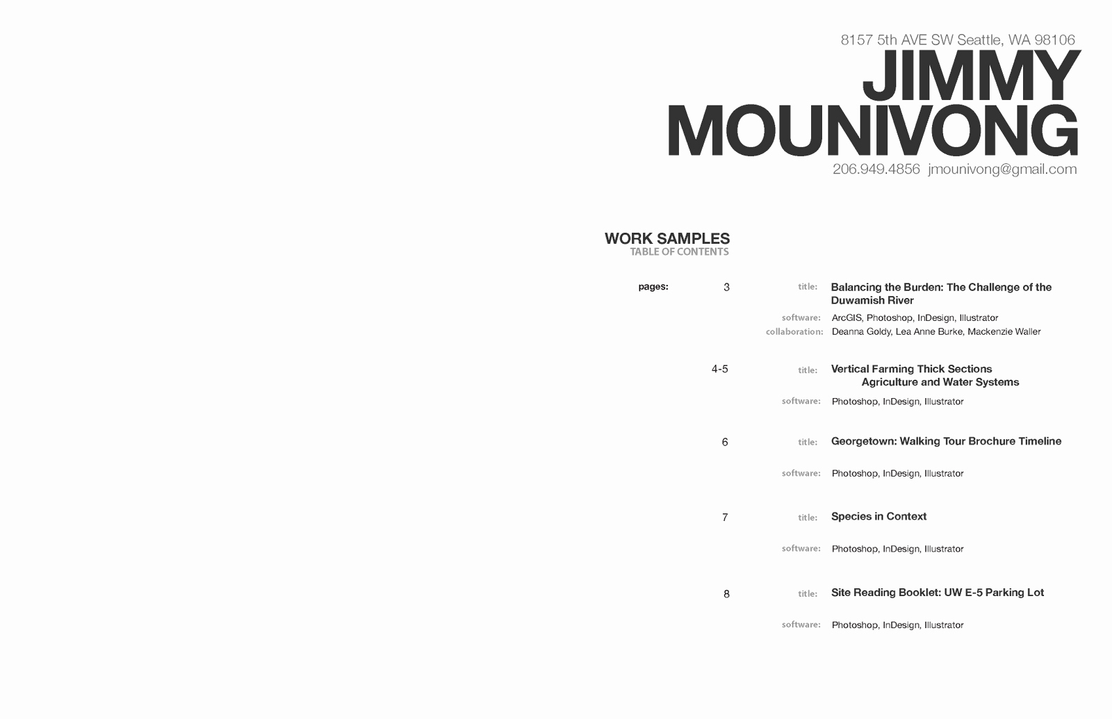 Portfolio Table Of Contents Template Elegant Jimmy Mounivong January 2011