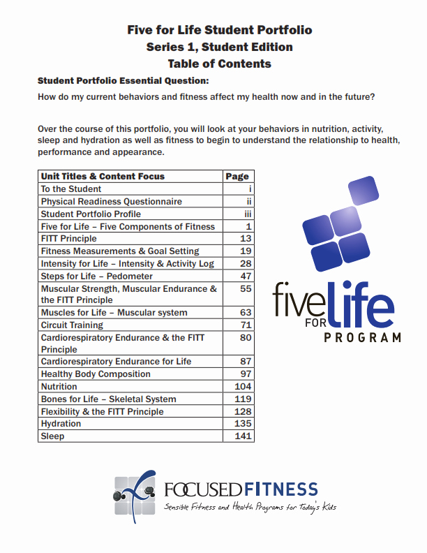 Portfolio Table Of Contents Template Luxury Physical Education Middle & High School