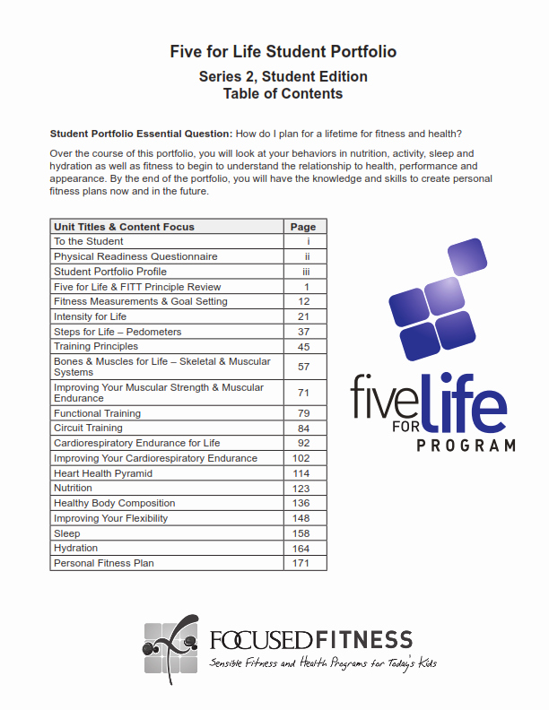 Portfolio Table Of Contents Template New Physical Education Middle & High School